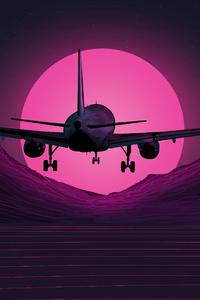 480x854 Plane Synthwave 5k
