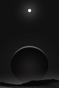 1440x2960 Planet Dark Black Moon 4k