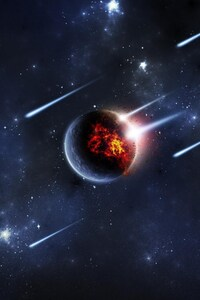 480x800 Planet Meteors Digital Art
