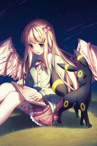 1080x2160 Pokemon Angel Girl Anime Wings 4k