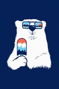240x400 Polar Bear Minimal 4k