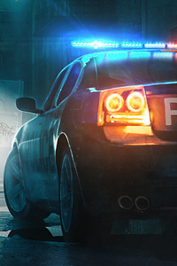 640x960 Police Patrol Car Digital Art 5k