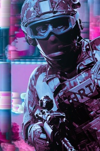 640x1136 Police Retrowave Glitch Art 5k