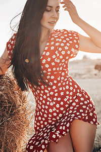 240x400 Polka Dot Dress Girl Field Long Hair 4k