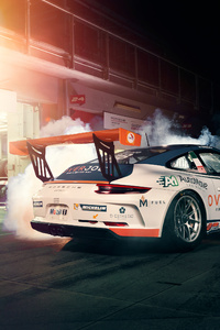 1440x2960 Porsche 911 Gt3 Cup Burning Out 4k