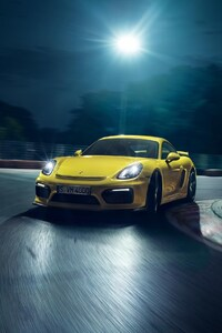 480x854 Porsche Cayman GT4 Yellow