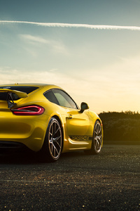 640x1136 Porsche Cayman Rear