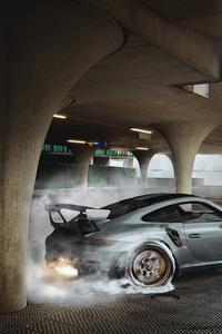 1440x2960 Porsche GT2 RS Burning The Wheels 4k