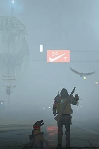 750x1334 Post Apocalypse Man With Dog 4k