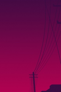 Power Lines Moon Sky Minimalism 4k