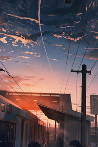 540x960 Power Lines Train Anime 4k