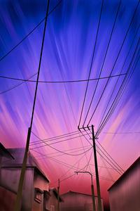 1440x2960 Powerlines Digital Art 4k
