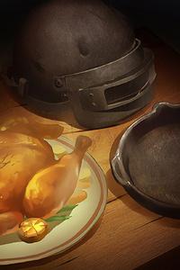 480x800 Pubg Chicken Dinner Art