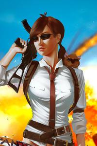 1080x1920 Pubg Gun Girl 4k