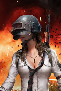 Pubg Helmet Girl Artwork