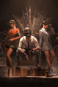 640x960 Pubg Helmet Guy With Girls And Guns 4k