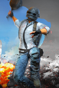 2160x3840 PUBG Helmet Man With Pan 4k