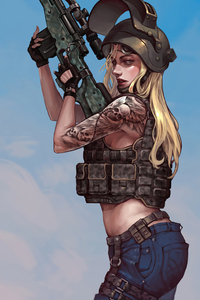 1080x1920 Pubg Tattoo Girl