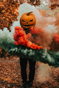 720x1280 Pumpkin Helmet Guy Smoke 4k