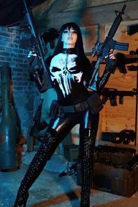 320x480 Punisher Girl Cosplay 4k