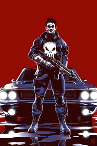 1242x2688 Punisher With Dodge And Gun 5k