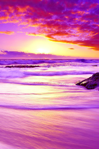 240x400 Purple Beach Sunset 4k