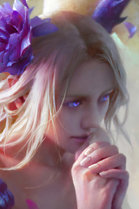 1125x2436 Purple Eyes Fantasy Girl