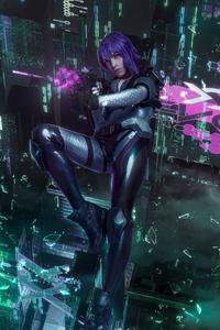 Purple Hair Cyber Punk Girl