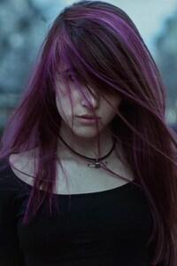 240x320 Purple Hairs Girl