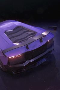 Purple Lamborghini Aventador Rear