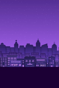 1080x2280 Purple Moon Stars Buildings City Minimal 4k