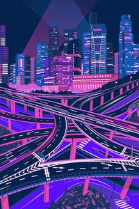1080x2280 Purple Noen Citycsape 4k