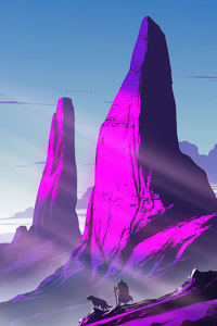 1440x2960 Purple Peaks 4k