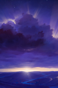 800x1280 Purple Rays Sky Stars Digitalart River 4k