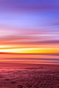 Purple Sky Beach Sunset Sand Footprints