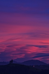 Purple Sky Clouds Mountains 4k