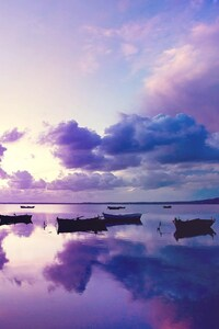 Purple Sunset In Ocean