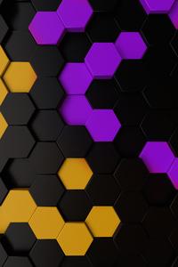480x854 Purple Yellow Dark Polygon Abstract 5k