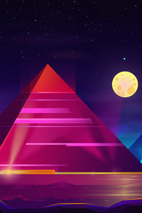 1242x2688 Pyramid Colorful Neon 4k