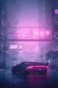 Quadra Turbo Neon Cyberpunk 2077 4k