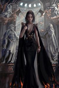 Queen In Black Dress 4k