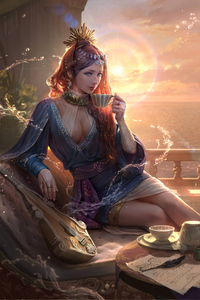 1080x2160 Queen Morning Coffee Fantasy 4k