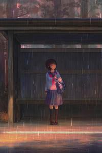 1242x2688 Rain Anime Girl Bustand 4k