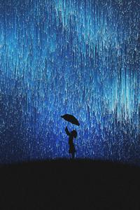Rain Of Stars Little Girl With Umbrella