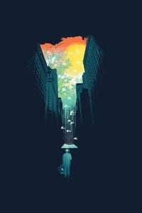 720x1280 Rain Umbrella Birds City Building Sky Cages Artwork Fantasy Art Trees Minimalism