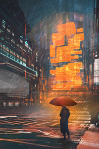 Rainy Night Man With Umbrella Scifi Drawings Digital Art