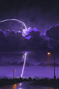 1242x2688 Rainy Night Storm