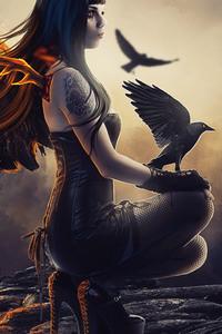 750x1334 Raven Girl Artwork 5k