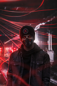 1080x2280 Red Alert Glowing Eyes Boy 4k