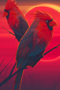 Red Birds Eclipse 4k